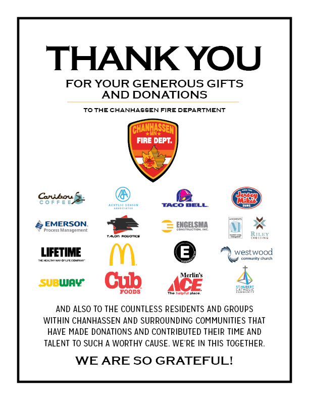 Thank You from Chan Fire Dept List of Donors