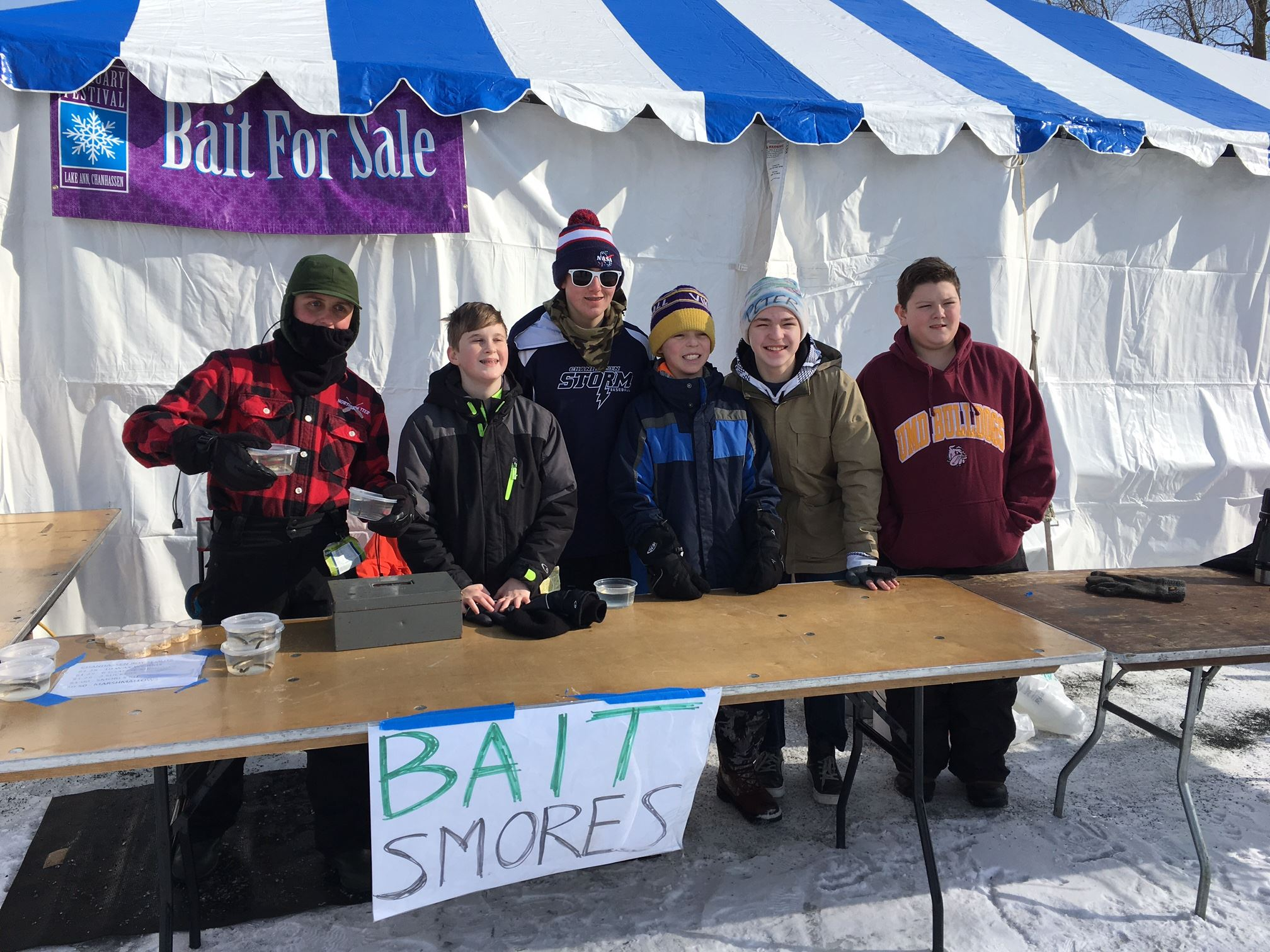 Boy Scouts at February Festival selling bait and s'mores